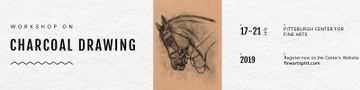 Charcoal Drawing Ad with Horse illustration