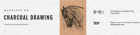 Charcoal Drawing Ad with Horse illustration Twitter – шаблон для дизайну