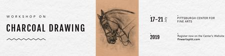 Charcoal Drawing Ad with Horse illustration Twitter Modelo de Design