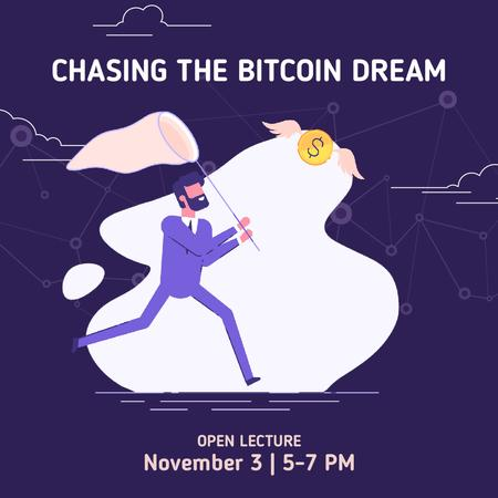 Lecture Announcement with Man chasing Bitcoin Animated Post Modelo de Design