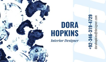 Designvorlage Interior Designer Contacts with Ink Blots in Blue für Business card