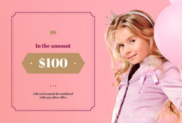 Child Girl Holding Balloon in Pink Gift Certificate – шаблон для дизайна