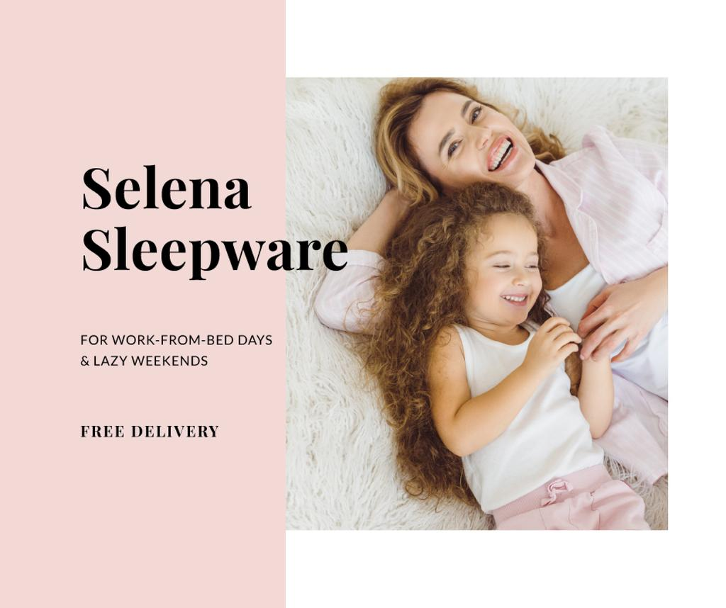 Sleepwear Deliivery Offer with Mother and Daughter in bed —デザインを作成する