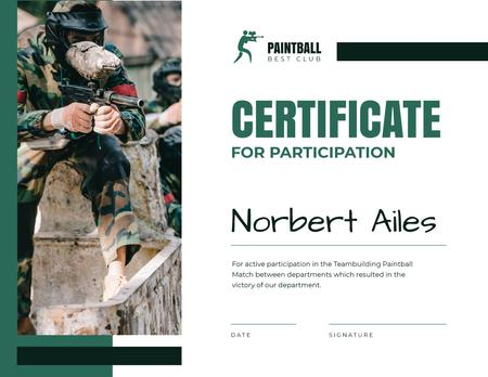 Template di design Paintball Championship participation confirmation Certificate