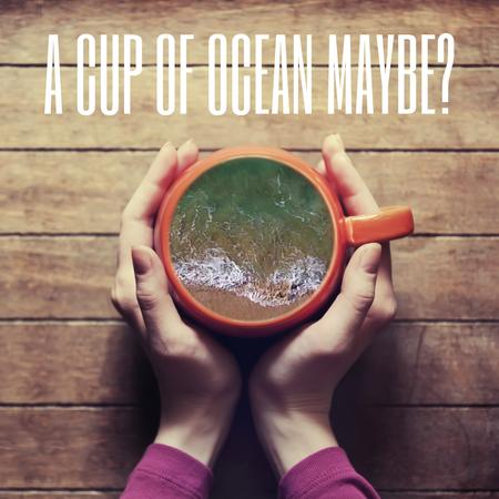 Woman holding cup with ocean inside Animated Postデザインテンプレート