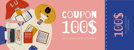 Plantilla de diseño de Language Courses Offer with People studying Coupon