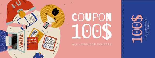 Language Courses Offer with People studying Coupon Modelo de Design