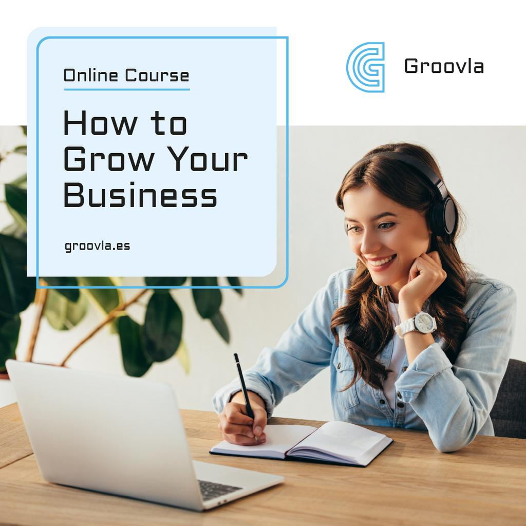 Business Course Promotion Woman with Notebook and Laptop Instagram Design Template
