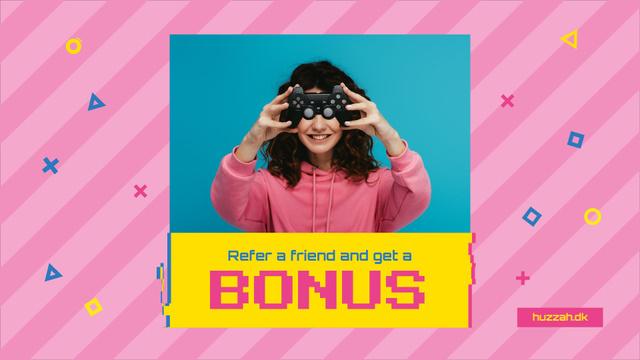 Plantilla de diseño de Video Games Ad with Girl Holding Gamepad Full HD video