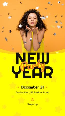 Plantilla de diseño de New Year Party Invitation Girl Blowing Confetti Instagram Story