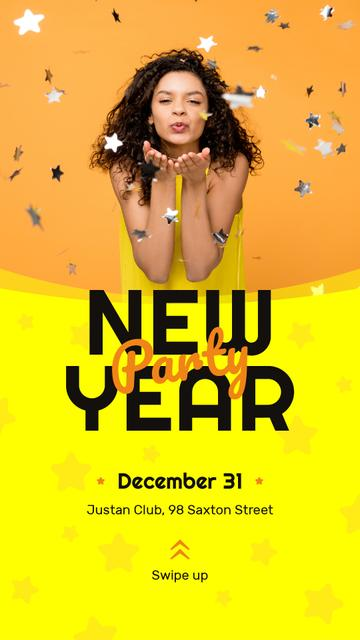 New Year Party Invitation Girl Blowing Confetti Instagram Story Modelo de Design