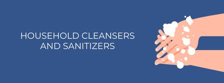 Plantilla de diseño de Cleansers ad with Hand Washing Facebook cover