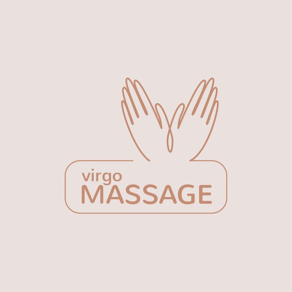 Massage Therapy with Masseur Hands in Pink Logo Design Template
