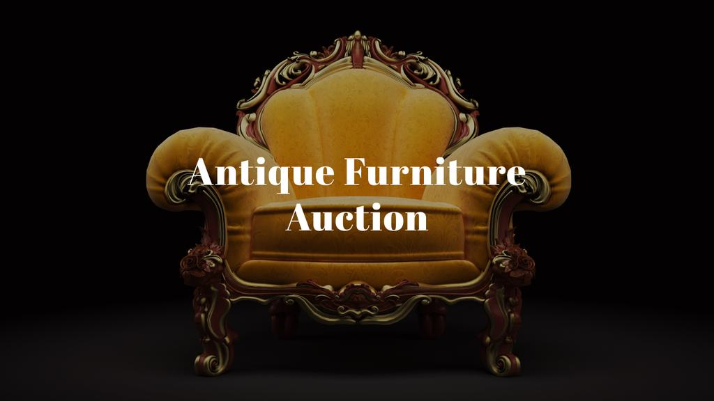 Antique Furniture Auction Luxury Yellow Armchair | Youtube Channel Art — Створити дизайн