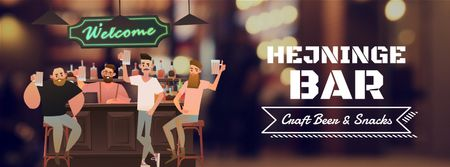 Plantilla de diseño de Men enjoying drinks at the bar Facebook Video cover