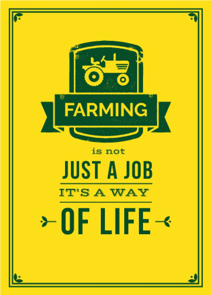 Agricultural yellow poster with quotation — Crear un diseño