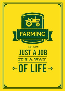 Agricultural Quote Tractor Icon in Yellow | Flyer Template