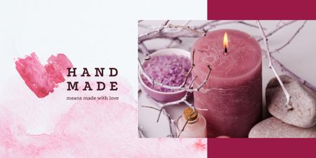Plantilla de diseño de Coarse sea salt and candle Image