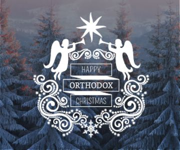 Christmas Greeting Winter Forest and Angels | Medium Rectangle Template