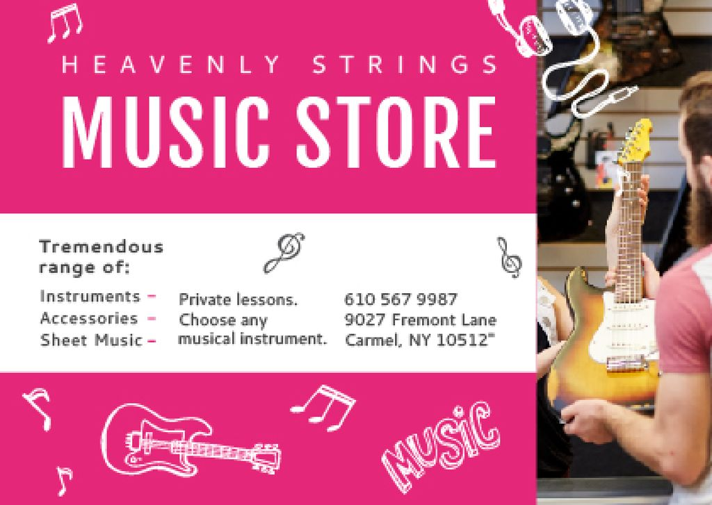 Music Store Ad Seller with Guitar — Crea un design