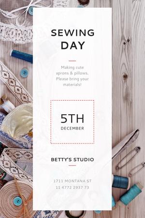 Ontwerpsjabloon van Pinterest van Sewing day event Announcement