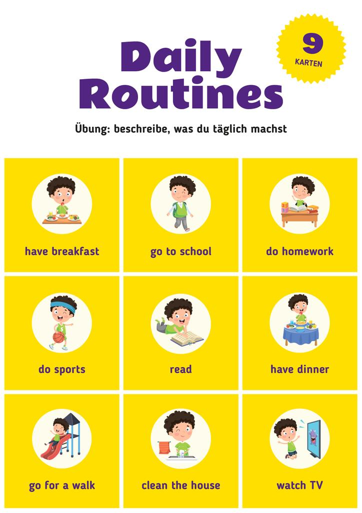 Daily Routine Chart for Kids | Poster Template — Створити дизайн