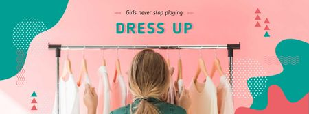 Template di design Girl Choosing Clothes on Hangers Facebook cover