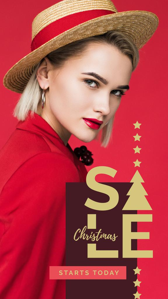 Christmas Sale Woman in red clothes – Stwórz projekt