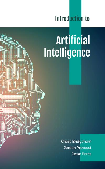 Artificial Intelligence Concept Human Face in Blue Book Cover Modelo de Design