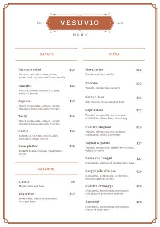 Ontwerpsjabloon van Menu van Italian Restaurant dishes