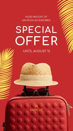 Plantilla de diseño de Travelling Accessories Sale Suitcase and Hat in Red Instagram Story