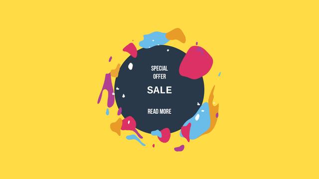 Szablon projektu Sale Offer Moving Blots Circle Frame in Yellow Full HD video