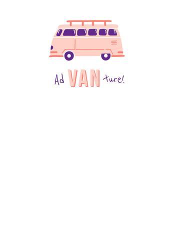 Designvorlage Travel Inspiration with Cute Pink Van für T-Shirt