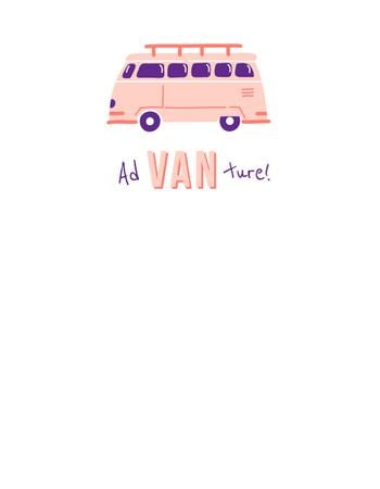 Travel Inspiration with Cute Pink Van T-Shirt Design Template