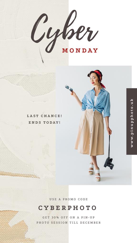 Stylish girl holding camera — Create a Design