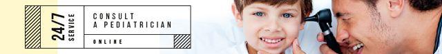 Ontwerpsjabloon van Leaderboard van Online Consultation Service Doctor Checking Child's Ear