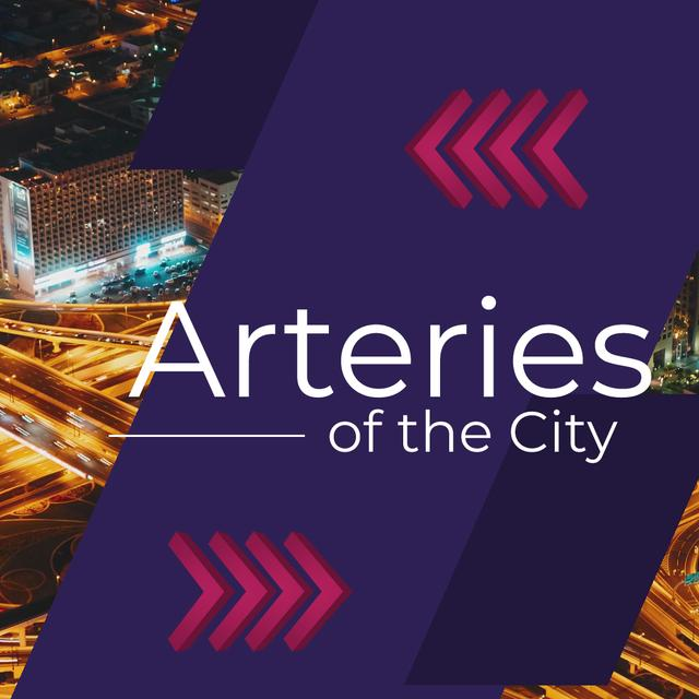 Ontwerpsjabloon van Animated Post van Night City Traffic Lights