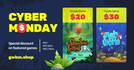 Ontwerpsjabloon van Facebook AD van Cyber Monday Video Games Offer