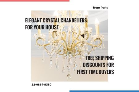 Template di design Elegant crystal chandeliers shop Gift Certificate