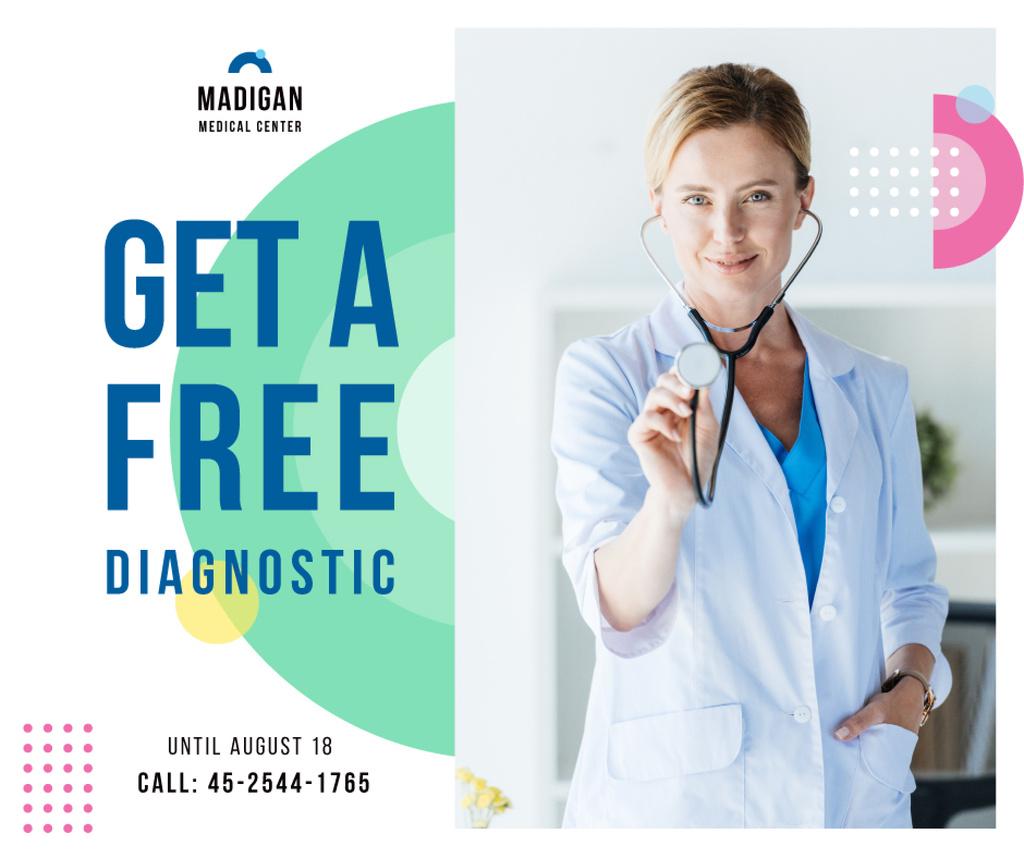 Plantilla de diseño de Checkup Invitation Smiling Female Doctor Facebook