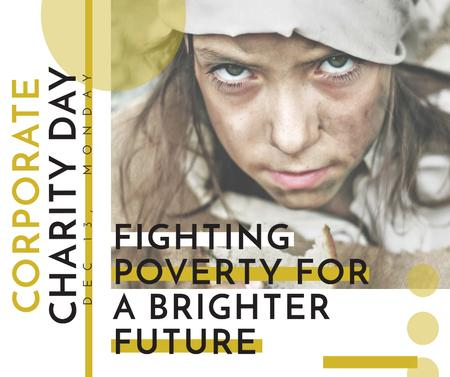 Template di design Poverty quote with child on Corporate Charity Day Facebook