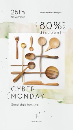 Template di design Cyber Monday Sale Wooden spoons set Instagram Story