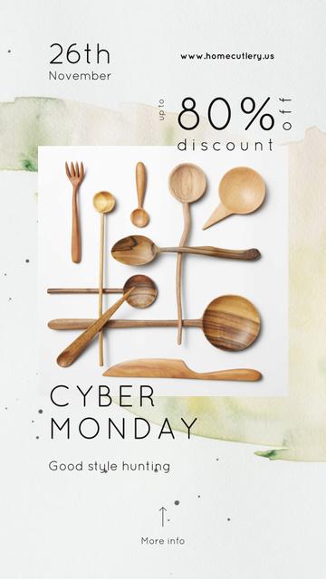 Plantilla de diseño de Cyber Monday Sale Wooden spoons set Instagram Story