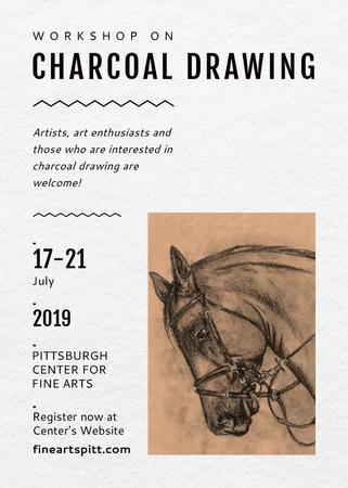 Drawing Workshop Announcement Horse Image Flayer Modelo de Design
