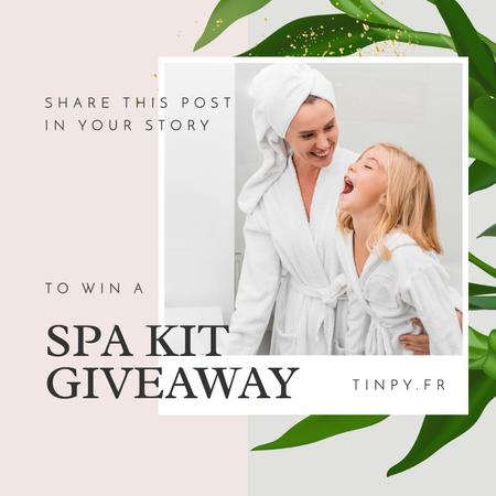 Ontwerpsjabloon van Instagram van Spa Kit Giveaway with Mother and Daughter in bathrobes