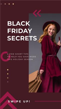 Template di design Black Friday Sale Young woman wearing purple clothes Instagram Story