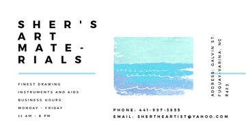 Art Material Store ad with Sea Landscape