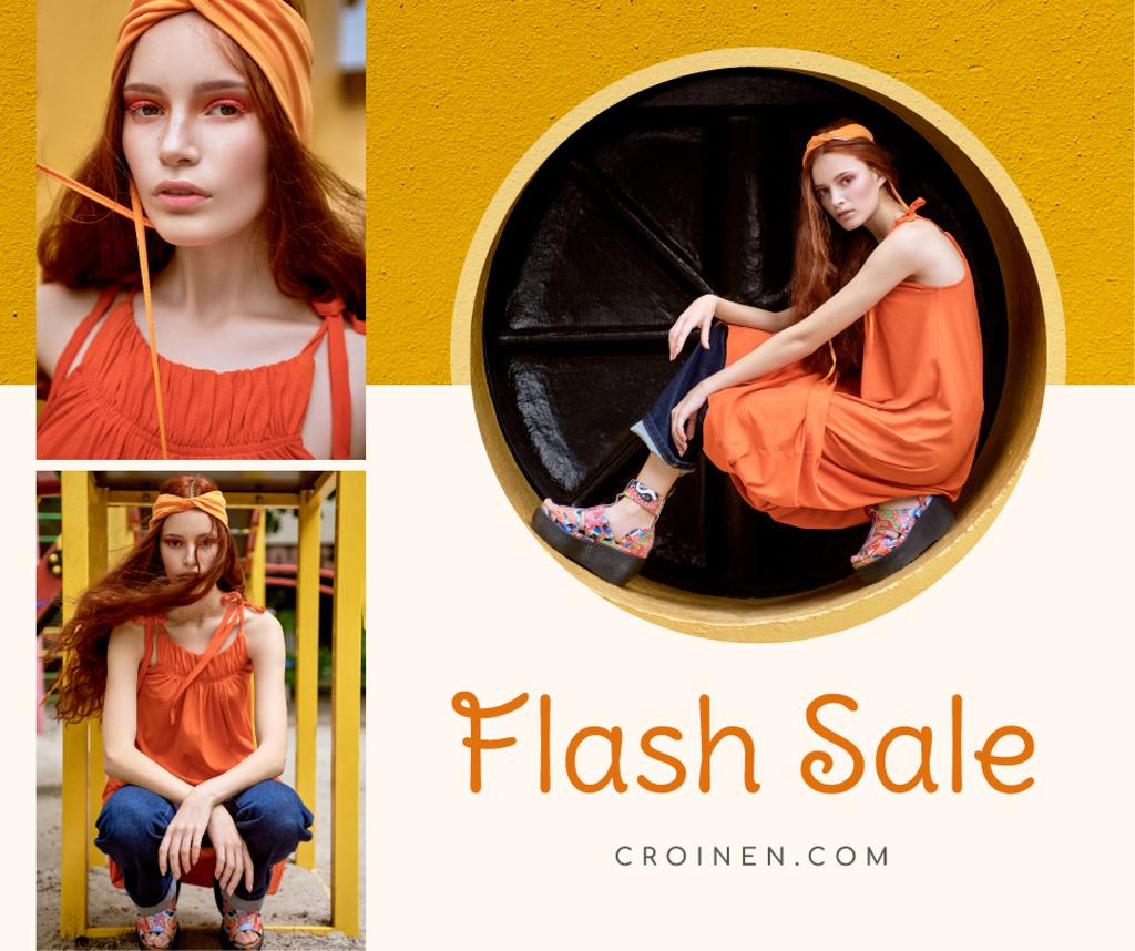 Fashion Sale Stylish Woman in Orange — Crea un design