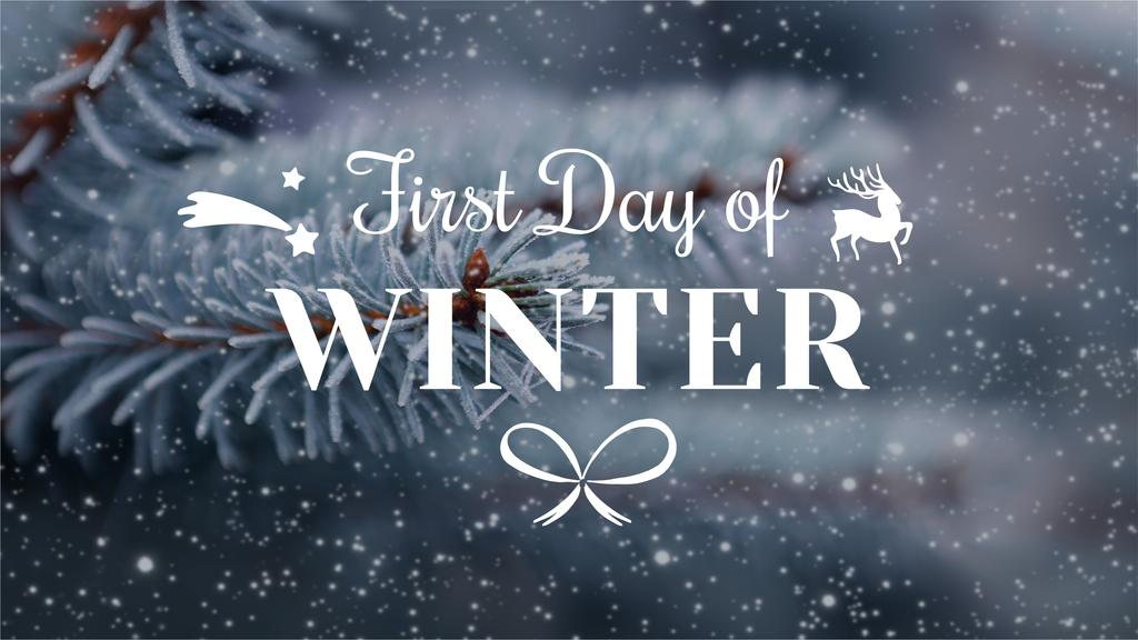 Winter Greeting Frozen Fir Tree Branch | Youtube Channel Art — Maak een ontwerp