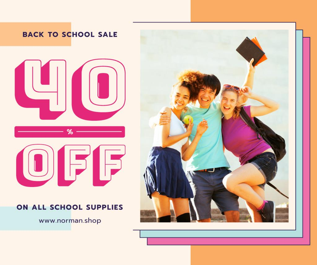 Back to School Offer Happy Students with Books Facebook Modelo de Design